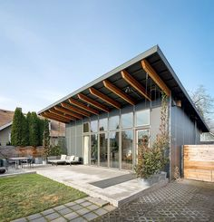 This modern studio dwelling with 704 sq ft, all on a single level, was designed and built by the owners.   www.facebook.com/SmallHouseBliss