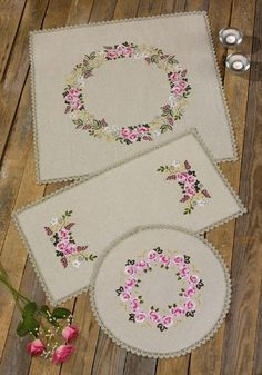 Discover thousands of images about Printed Embroidery - Permin UK Just Cross Stitch, Cross Stitch Borders, Cross Stitch Flowers, Cross Stitch Designs, Cross Stitch Patterns, Hand Embroidery Patterns, Ribbon Embroidery, Cross Stitch Embroidery, Machine Embroidery
