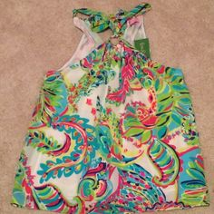 Lilly Pulitzer Cassandra Top in Toucan Play NWT, gold ring in front and ties in the back. Lilly Pulitzer Tops Tank Tops
