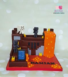 Minecraft Nether Fortress Cake for Icing Smiles - Cake by Rose Dream Cakes