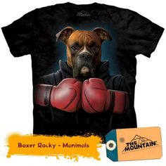 Get ready to fight like a boxer in the Boxer Rocky Human T-Shirt by The Mountain! Shirt for adult humans. Boxer on shirt. Pre-shrunk to . Zebras, Funny Dogs, Cute Dogs, Big Dogs, Biker, Ufc Boxing, Boxing Fitness, Black Puppy, Harley Davidson