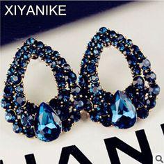 新しいファッションエレガントな天使の涙滴青宝石ドロップ水スタッドピアスジュエリー高品質アクセサリー用女性XY-E509