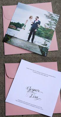 Ett enkelt dubbelsidigt tackkort till bröllop.   A wedding thank you card with a custom made monogram.  Pappersboden Anna Göran Design