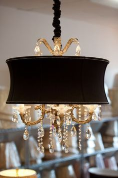 Pretty crystal and gold chandelier, black shade
