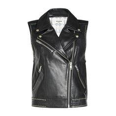 Zadig & Voltaire Studded Leather Biker Vest (38.575 RUB) ❤ liked on Polyvore featuring outerwear, vests, biker vest, long sleeve vest, leather waistcoat, studded vests and genuine leather vest