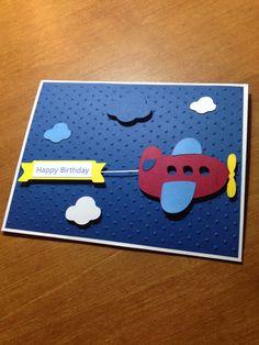 Items similar to Cute Handmade Flying Airplane Birthday Card or Invitation on Etsy Creative Birthday Cards, Birthday Cards For Boys, Bday Cards, Handmade Birthday Cards, Creative Cards, Scrapbook Bebe, Scrapbook Cards, Punch Art Cards, Cricut Cards
