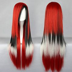 Beautiful Sweety Mixed Color Lolita Punk Lolita Wig (Red,  Black & White)