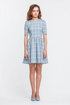 2317 Платье мини голубое в белую клетку, юбка в сборку купить в Украине, цена в каталоге интернет-магазина брендовой одежды Musthave