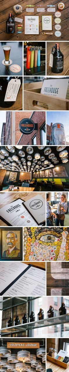 Cool graphic style for The Freehouse // graphic design // identity and branding Brand Identity Design, Corporate Design, Graphic Design Typography, Branding Design, Logo Design, Branding Ideas, Restaurant Branding, Restaurant Design, Brand Packaging