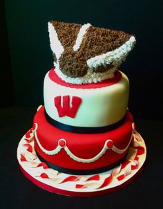 Bucky Badger Groom's Cake - This was made for a friend's groom's dinner. I did eventually add eyes, but forgot to take pics after! I was inspired by a cake by Jenscuppycakery! Beautiful Cakes, Amazing Cakes, Brides Cake, Cake Central, Wisconsin Badgers, Cupcake Cakes, Shoe Cakes, Cupcakes, Creative Cakes