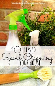 "10 Tips To Speed Cleaning Your House ... | ""Cleaning the house can be a bit of a dreaded task. Not only can it be extremely time consuming, it can be hard to keep up with on a regular basis. Luckily, there are ways to keep up on the housework and spend less time actually cleaning! Check out the 10 tips below on how to clean your house in record time."" ~ Sarah 