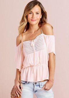 Uhhh, that better have a built-in bra...?! xD; Valeria Off-Shoulder Crochet Top