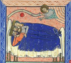 Dream of the Magi from a Psalter English (Oxford), quarter of Century London, British Library MS Royal 1 D X, fol. Medieval Manuscript, Illuminated Manuscript, Illuminated Letters, Medieval Bed, Medieval Life, High Middle Ages, Medieval Paintings, Armadura Medieval, Three Wise Men