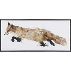 Crate & Barrel Fox Print ($300) ❤ liked on Polyvore featuring home, home decor, wall art, art, fillers, animals, backgrounds, fox painting, fox wall art and crate and barrel