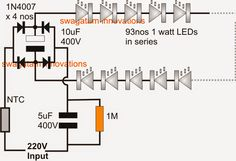 Simplest 100 Watt LED Bulb Circuit - Electronic Circuit Projects