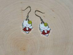Cat Earrings White Cat Earrings  1 Pair by AprilsHandmadeJewels