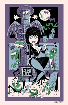beccarocks:  geekguy1138:  laughingsquid:  Elvira Tiki Poster Design by Derek Yaniger  For Becca.  THIS IS AWESOME!!!!!!!!