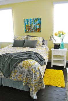 49 Wonderful Sunny Yellow Accents In Bedrooms : 49 Wonderful Sunny Yellow  Accents In Bedrooms With Yellow Wall And Grey Pillow Blanket Bed A.