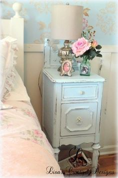 This broken vanity was upcycled into a pair of nightstands.  So pretty!