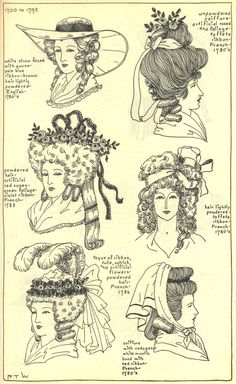 Great drawings of 18th century hats and hairdo's