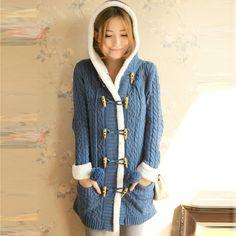 Women Cute Long Warm Winter Coat Long Sleeve Double-breast Cardigan Sweater with Hat Free Size  Free Shipping yn739 US $48.00