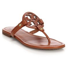 Tory Burch Miller Leather Logo Thong Sandals (56.780 HUF) ❤ liked on Polyvore featuring shoes, sandals, apparel & accessories, brown, leather slip on sandals, brown leather shoes, slip-on shoes, leather slip on shoes and leather slip-on shoes