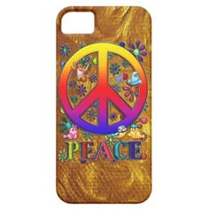 $47.95 iPhone 5 Case Modern Retro Peace Sign Text Birds & Flowers  The Word Peace, Modern Retro Vibrantly Colored Rainbow Gradient Faux 3-D Peace Sign, Birds & A Blue & Lavender Butterfly Colorful Floral Design and abstract grunge paint-splash background. Done as traditional artwork, then completed & given faux metallic textures, using Adobe Photoshop CS2. Optional, Customizable Abstract Faux Gold Paint Swirls Background Texture Art.