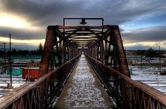 Historic Garfield Footbridge over the Railroad Tracks. Downtown Laramie, WY