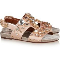 Dolce & Gabbana Crystal-embellished satin sandals (1.745 BRL) ❤ liked on Polyvore featuring shoes, sandals, flats, slingback flats, gray sandals, flats sandals, gray flat shoes and flat slingback shoes