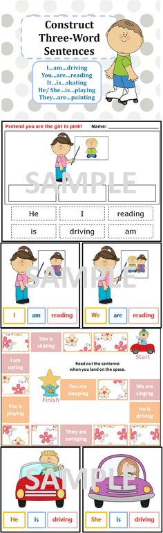 This package aims to teach children how to construct simple three-word sentences. Eg. He is driving, They are reading. Students can also learn about pronouns and new vocabulary.  http://www.teacherspayteachers.com/Product/Construct-3-words-Sentences-eg-He-is-driving-Flashcards-Games-Cut-and-paste-781092
