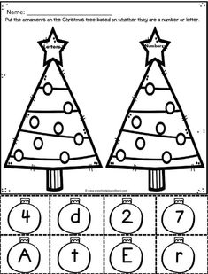 Kids will have fun practing math, alphabet, and literacy skills with these super cute, FREE Christmas Worksheets for Preschoolers! Christmas Tree Printable, Christmas Tree Base, Christmas Worksheets, Preschool Christmas, Christmas Hat, Christmas Colors, Writing Alphabet Letters, Shape Coloring Pages, Kindergarten Age