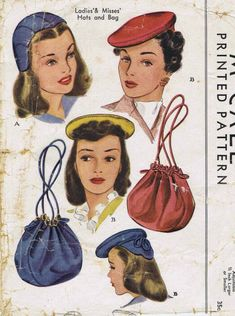 4b770087f9a Day or Evening Hats and Bags Pattern McCall 1115 Womens Vintage Sewing  Pattern Beret Helmet Hat Cap and Drawstring Handbag Purse