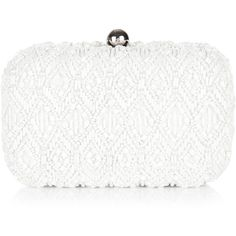 Monsoon Jocelyn Bridal Pearl Box Clutch featuring polyvore, fashion, bags, handbags, clutches, bolsas, borse, torbe, ivory, ivory purse, ivory bridal purse, pearl handbag, white clutches and embellished handbags