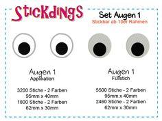 """Stickdatei Set """"Augen 1""""  von stickdateien-online.de auf DaWanda.com"""