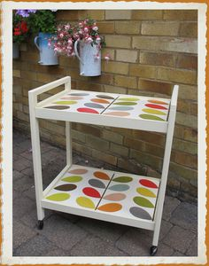Wallpapered furniture ~  I Up cycled this tea trolley using Orla Kiely wallpaper ~ Only took 5 mins to paper once it had been painted :)