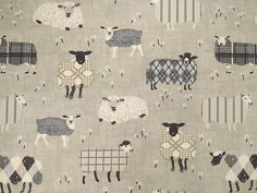 Charcoal sheep on natural cotton curtain fabric
