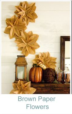 Brown paper flowers by Destiny as seen on the Nate Berkus Show