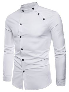 New fashion male autumn High-grade pure cotton slim Fit Business shirts/men Stand collar Casual long sleeve shirts Fashion Male, Indian Men Fashion, Big Men Fashion, Fashion Wear, African Dresses Men, African Shirts, Rugged Style, Stand Collar Shirt, Collar Shirts