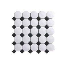 Tuile mosaïque noir et blanc - Mono Serra - Rona Superbe pour style retro, français ou vintage