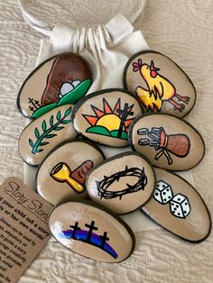 Field Day Games For Kids Discover Passion of Jesus Easter Story Stones Resurrection Story Stones Jesus Story Stones Easter Basket gift Story Rocks Easter Gift Baskets, Basket Gift, Painted Rocks, Hand Painted, Easter Story, Jesus Stories, Story Stones, Palm Sunday, Crown Of Thorns
