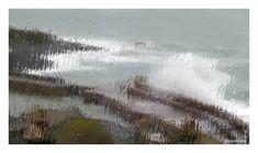 Mousehole - huge waves over the pier through rainy windows