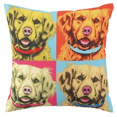 I pinned this Woofhol Golden Retreivers Pillow from the Reigning Cats & Dogs event at Joss and Main!
