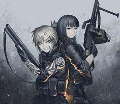 Anime girl with guns Fille Anime Cool, Cool Anime Girl, Anime Girls, Anime Military, Military Girl, Dark Anime, Jormungand Anime, Revy Black Lagoon, Manga Anime