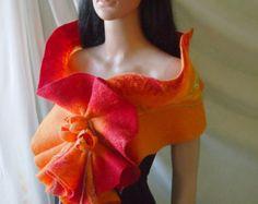 Felted wool scarf-Nuno felted scarf-Melon-Tomato-Orange-Felted Shawl-Art scarf-READY TO SHIP Nuno Felt Scarf, Wool Scarf, Felted Scarf, Wool Felt, Felted Wool, Nuno Felting, Shawl, Unique, Handmade