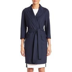 Aquilano Rimondi Belted Double-Face Wool Coat (900 JOD) ❤ liked on Polyvore featuring outerwear, coats, jackets, apparel & accessories, navy, reversible coat, wool wrap coat, reversible wool coat, wool lined coat and woolen coat