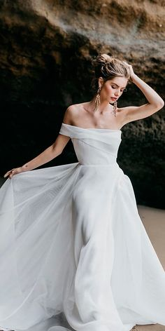 30 Simple Wedding Dresses For Elegant Brides ❤ straight off the shoulder simple wedding dresses georgia young couture ❤ See more: http://www.weddingforward.com/simple-wedding-dresses/ #weddingforward #wedding #bride