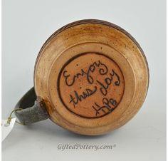 Pottery Mug with a Saying - Tan with Brown Band 14 oz
