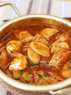 Dukbokki with flat rice cake (soup style) Spicy Recipes, Asian Recipes, Healthy Recipes, K Food, Food Menu, Korean Dishes, Korean Food, Easy Cooking, Cooking Recipes