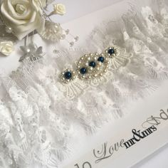 fe8a12d56 Wedding bridal garter. Off white eyelash lace with blue