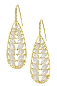 Marquise CZ Pear Drop Earrings. I WANT